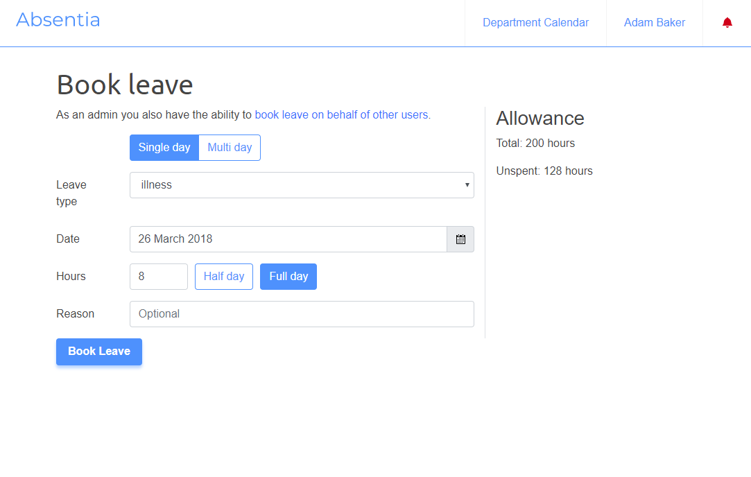 Booking leave in an absence management system