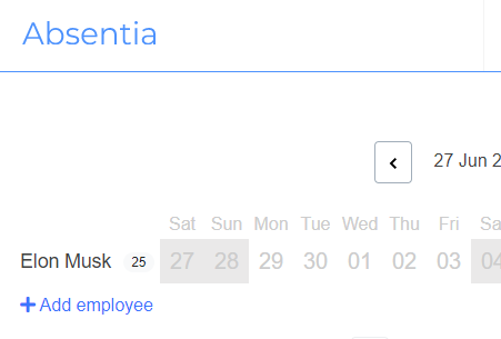 Add employee link from the department calendar
